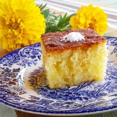 Revani - Turkish Semolina Cake - This is a very easy cake, made of sweet semolina and yogurt as prime ingredients. Called Revani in Turkish and Basboosa in Middle East. Its dry when baked, the syrup is what makes it moist and tender.