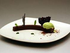 flexible chocolate ganache with spearmint ice cream and chocolate tuiles