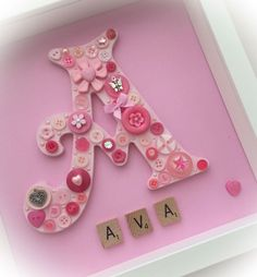 Personalised Button Letter Frame Available in any colours Name in tiled letters underneath can be up to 10 characters Printed option is available for