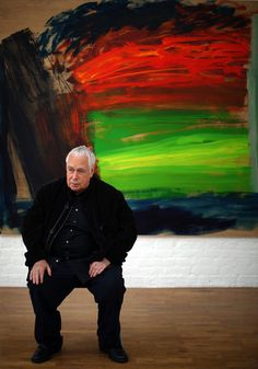 British painter & artist Howard Hodgkin (b.1932) with one of his expressive paintings. Photographer unknown. via the republic of less