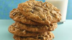Cinnamon-Raisin-Oatmeal Cookies recipe and reviews - Munch on a cookie jar favorite that's hard to resist. This oatmeal cookie boasts the addition of high-fiber bran cereal.