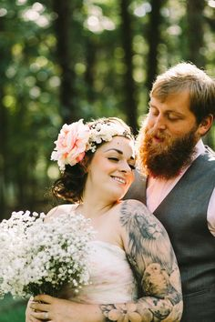 After a sweet proposal outside the concert of one of their favourite bands, Emily & Casey set to planning their fairytale wedding. Woodland Wedding, Boho Wedding, Wedding Blog, Dream Wedding, Wedding Day, Brides With Tattoos, Marry Me, Beautiful Bride, Wedding Pictures