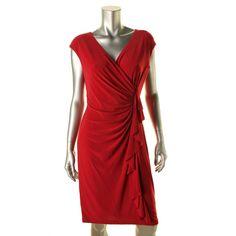 American Living Womens Matte Jersey Cascade Ruffle Cocktail Dress