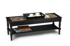 """Convenience Concepts French Country Coffee Table with Bottom Shelf, Black Faux Marble Top I really like the inlay and the silhouette. I wish it were tile instead of """"faux marble"""" Faux Marble Coffee Table, Stone Coffee Table, Coffee Table With Shelf, Lift Top Coffee Table, Coffee Tables, Accent Chairs For Living Room, Dining Room Sets, French Country Coffee Table, French Coffee"""