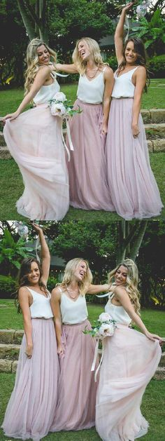 Gorgeous Two Piece Pink Tulle Long Bridesmaid Dress with White Top Bridesmaid Dresses, Pink Bridesmaid Dress, Ivory Bridesmaid Dress, Chiffon Bridesmaid Dress, Bridesmaid Dress White Bridesmaid Dresses 2018 Two Piece Bridesmaid Dresses, Off Shoulder Bridesmaid Dress, Mermaid Bridesmaid Dresses, Beautiful Bridesmaid Dresses, Wedding Dresses, Wedding Bridesmaids, Beautiful Gowns, Bridal Gowns, Chiffon
