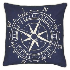 "Navy Compass Throw Pillow (18""x18"") - Rizzy Home : Target"