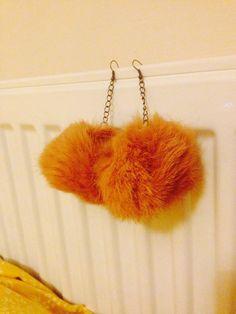 Fluffy Off White Pom Pom Soft Fluffy Earrings made by HumanCat