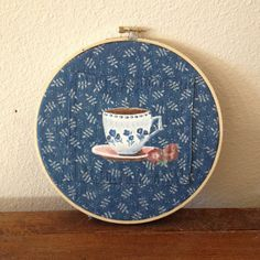 White Teacup on Embroidery Hoop by AFancyOrAFeeling on Etsy, $20.00