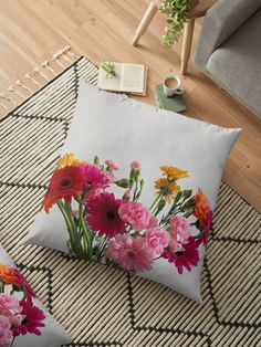 A pretty bunch of flowers in a glass vase. Red, orange, yellow and pink gerberas, and pink carnations make up the floral arrangement. Throw Pillows Bed, Bed Throws, Floor Pillows, Decorative Throw Pillows, Floral Cushions, Pink Carnations, Bunch Of Flowers, Orange Yellow, Flower Vases