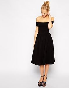 ASOS Bardot Midi Skater #Dress - great for the holidays - and I've got the perfect #Swarovski #black necklace to accessorize it  http://linorstore.com/shop/necklaces/black-swarovski-crystal-necklace-set/