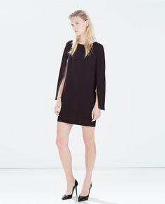 CAPE SLEEVED STRAIGHT DRESS-Plain-Dresses-WOMAN | ZARA United States