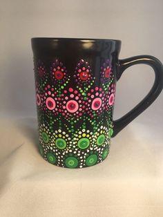 Coffee Tea Mug Cup Black Hand Painted Mandala Dot Meditation Valentines Dot Art Painting, Painting Patterns, Bottle Painting, Bottle Art, Painted Coffee Mugs, Hand Painted Wine Glasses, Mandala Dots, Stained Glass Designs, Glass Wall Art