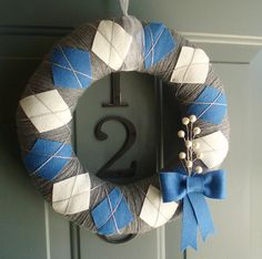 Yarn Wreath Felt Handmade Holiday Door  Argyle by ItzFitz.....could also be different seasons...