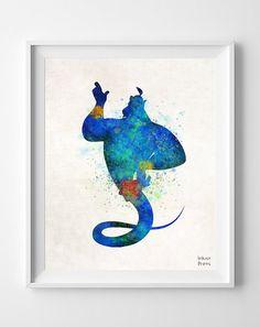 Genie Disney Print Watercolor Aladdin Poster by InkistPrints - Shipping Worldwide! [Click Photo for Details] Disney Love, Disney Magic, Disney Art, Watercolor Disney, Watercolor Art, Disney And Dreamworks, Disney Pixar, Disney Kunst, Genie Aladdin