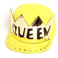 'QUEEN' Crown Yellow Snapback Hat ($31) ❤ liked on Polyvore
