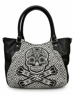 """Sugar Skull"" Tweed Tote Bag by Loungefly (Black/White)"