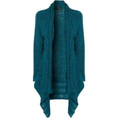 Jane Norman Teal Cable Ladder Stitch Cardigan ($15) ❤ liked on Polyvore featuring tops, cardigans, sweaters, jackets, outerwear, teal, jane norman top, cable cardigan, long cable knit cardigan and long waterfall cardigan