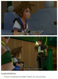 Squall trying to be mysterious, and not at all helping our dear young protagonist.