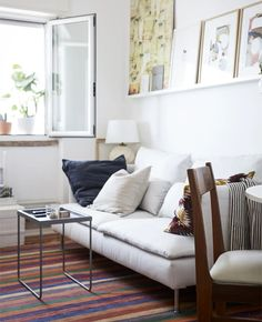 Designing a first apartment in the city - IKEA Tiny Living Rooms, Home Living Room, Living Area, Söderhamn Sofa, Couch, Ikea Soderhamn, Ikea Bank, Bedroom Built Ins, Blogger Home