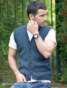 Knitting Patterns Vest Man's Waistcoat Free Knitting Pattern Mens Knitted Cardigan, Knit Hat For Men, Sweater Knitting Patterns, Hats For Men, Free Knitting, Knitted Hats, Sweater Vests, Knitting Club, Cardigans