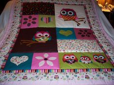 Handmade Baby Beautiful Owls and Hearts Cotton Baby/Toddler Quilt - Newly Made 2015 by quilty61 on Etsy
