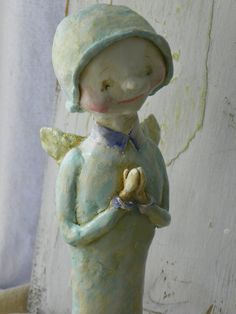 One of a Kind Sculpted Paper Mache Folk Art Vintage style French Moon Angel HAFAIR