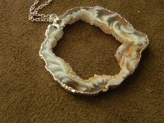 Large Druzy Oco Agate Slice and Sterling Silver by allisonmooney, $45.00