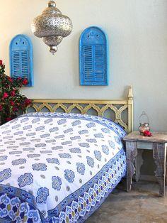 White and Blue Bedspread, Moroccan Bedspread, Vintage Bedspread, queen Cotton…