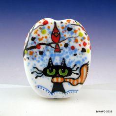"""THE KITTY & THE CARDINAL"" byKAYO a Handmade Lampwork Art Glass Focal Bead SRA #Lampwork"