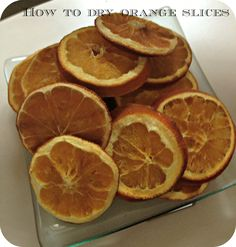 Slice your oranges in to 1 cm strips.  Make sure that you cut the oranges cross ways so you get the pretty segmented look. Discard the ends. Blot any excess juice on to a paper towel or tea towel. Place the slices on to a wire rack. Place in your oven at 90 degrees centigrade for 3 hours, turning once. Allow to dry overnight.