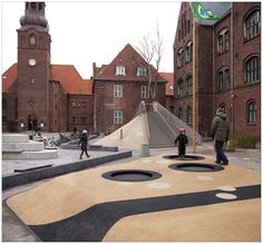 Playground at Guldberg skole. Landscape And Urbanism, Urban Landscape, Landscape Design, Urban Furniture, Street Furniture, Luxury Furniture, Urban Intervention, Playground Design, Urban Park