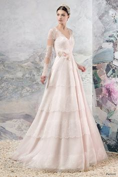 Papilio 2016 bridal long sleeves illusion v neck sweetheart neckline romantic pink color a  line wedding dress sweep train (1654…
