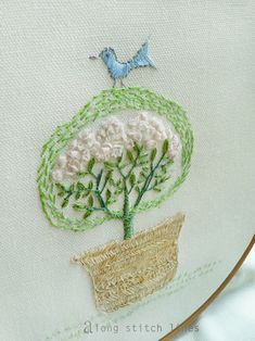 ***Along Stitch Lines: Start with friendship and a little blue bird