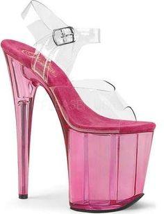 PLEASER Flowers DELIGHT 601FL Clear Hot Pink Flowers PLEASER Stilettto Slides ... fcf582