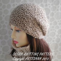 PATTERN for OCEAN SLOUCHY Handknit Hat  for Women and by artesana, $4.90