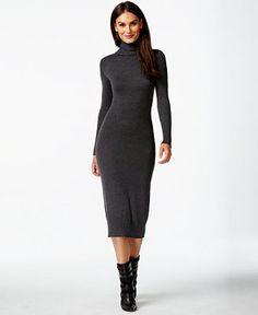 Vince Camuto Turtleneck-Sweater Maxi-Sheath Dress - Sweater Dresses - Women - Macy's