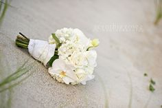 White bridal bouquet by Roger Carter Atlantic Beach NC wedding by Cynthia Rose Photography
