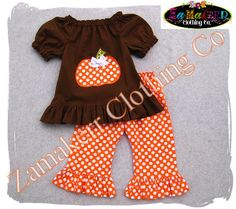 Girl Fall Thanksgiving Pumpkin Outfit - Toddler Baby Turkey Fall Pant Set 3 6 9 12 18 24 month size 2T 2 3T 3 4T 4 5T 5 6 7 8