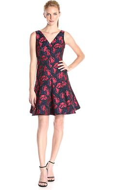 Maggy London Women's Shadow Floral Jacquard Deep V-Neck Fit and Flare, Red/Navy, 8 Best Price