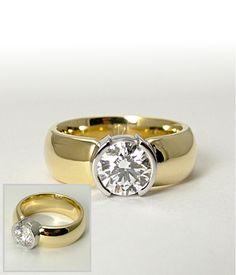 gold and platinum etoile half bezel ring