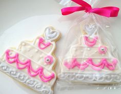 Wedding Favor Cookie Hot Pink Wedding Cake by SugarMeDesserterie Wedding Cake Cookies, Cookie Wedding Favors, Handmade Wedding Favours, Cookie Favors, Wedding Desserts, Bridal Shower Favors, Bridal Showers, Small Thank You Gift, Hot Pink Weddings