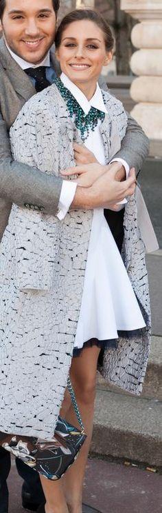 Who made Olivia Palermo's white dress, print handbag, and gray coat?