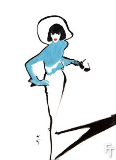 Mdvanii par René Gruau, encre de chine sur papier, 1989. Collection BillyBoy* & Lala.
