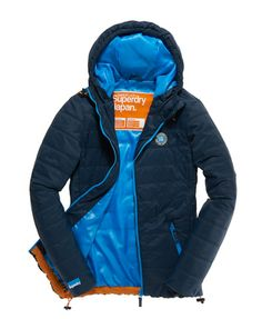 Mens - Elements Packaway Jacket in Dark Petrol Cancun Blue | Superdry