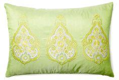Brea 14x20 Embroidered Pillow, Lime on OneKingsLane.com