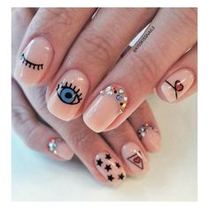Just in case you need your back watched…evil eye nails! Just in case you need your back watched…evil eye nails! Love Nails, Fun Nails, Pretty Nails, Minimalist Nails, Nail Swag, Evil Eye Nails, Kiss Nails, Jelly Nails, Nagellack Trends