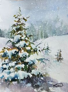 "Daily Paintworks - ""Snow Laden"" - Original Fine Art for Sale - © Sue Dion Watercolor Water, Watercolor Landscape Paintings, Watercolor Trees, Bird Paintings, Indian Paintings, Watercolor Portraits, Abstract Paintings, Painting Snow, Winter Painting"