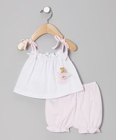 White Ballerina Bear Tank & Pink Stripe Bloomers - Infant by Victoria Kids #zulily #zulilyfinds
