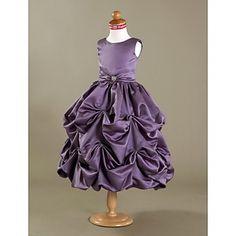 Ball Gown Tea-length Flower Girl Dress - Satin Sleeveless – USD $ 89.99