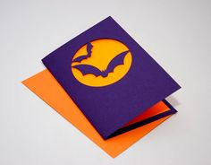 Halloween Card  Bats and Full Moon by starflycreations on Etsy, $10.00